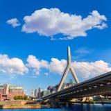 Boston Zakim most w bunkieru wzgórzu Massachusetts Zdjęcia Royalty Free