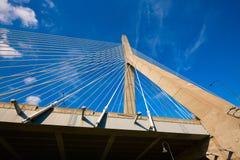 Boston Zakim most w bunkieru wzgórzu Massachusetts Obraz Royalty Free