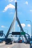 Boston Zakim most w bunkieru wzgórzu Massachusetts Zdjęcia Stock