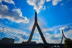 Boston Zakim most w bunkieru wzgórzu Massachusetts Obrazy Royalty Free