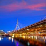 Boston Zakim mosta zmierzch w Massachusetts zdjęcia royalty free