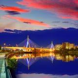 Boston Zakim mosta zmierzch w Massachusetts Obrazy Stock