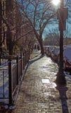 Boston zima Światło, brukujący obraz stock