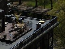 Bostonbrownstone-Dach-Plattform lizenzfreies stockfoto