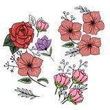 bostonian Uppsättning bakgrundskortet blommar rengöringsduk för tappning för hälsningssidamall universal Svartvit illustration i  royaltyfri illustrationer