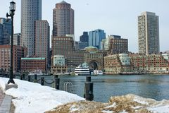 Bostons Rowes wharf with ships in winter Stock Photo