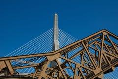 bostonu bridżowy bunkieru wzgórza Leonard Massachusetts p zakim Zakim Bunkieru Wzgórza Pomnika Most Obrazy Royalty Free