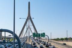 bostonu bridżowy bunkieru wzgórza Leonard Massachusetts p zakim Zakim Bunkieru Wzgórza Pomnika Most Zdjęcie Stock