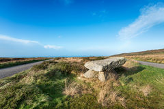 Bosullow Quoit. A modern day replica of a Dolmen found on a road junction on Bosullow Common near Penzance in Cornwall Stock Images