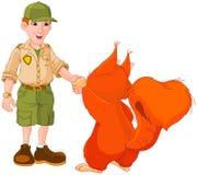 Boswachter met squirre Royalty-vrije Stock Fotografie