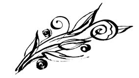 Botánica animada del dibujo de la tinta de la caligrafía stock de ilustración