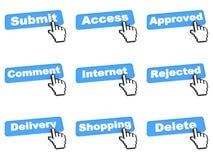 Botão azul ajustado da Web da cor Fotografia de Stock Royalty Free