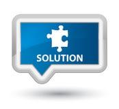 Botão azul da bandeira da prima da solução (ícone do enigma) Imagem de Stock Royalty Free