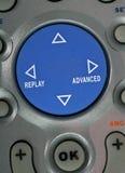 Botão azul de controle remoto, detalhes Imagem de Stock