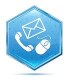 Botão azul de cristal do hexágono do ícone do contato foto de stock royalty free