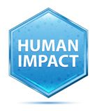 Botão azul de cristal do hexágono do impacto humano ilustração do vetor