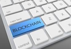 Botão azul do blockchain no teclado branco moderno 3D que ilustra Imagem de Stock