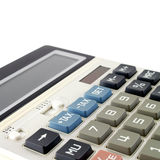 Botão azul do imposto do close up na calculadora branca imagens de stock