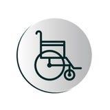 Botão circular degradado com cadeira de rodas ilustração stock