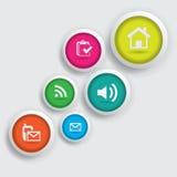 Botão colorido do ícone Fotos de Stock