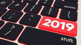 Botão com o teclado 2019 do portátil do texto rendição 3d ilustração stock