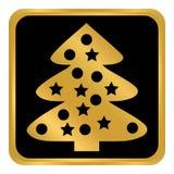 Botão da árvore de Natal Fotos de Stock Royalty Free