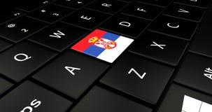 Botão da bandeira da Sérvia no teclado do portátil ilustração do vetor