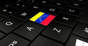 Botão da bandeira da Venezuela no teclado do portátil ilustração royalty free