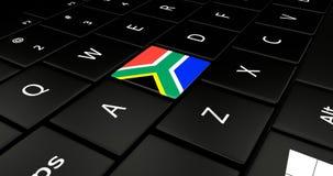 Botão da bandeira de África do Sul no teclado do portátil ilustração royalty free