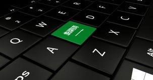 Botão da bandeira de Arábia Saudita no teclado do portátil ilustração stock