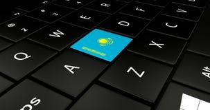 Botão da bandeira de Cazaquistão no teclado do portátil ilustração stock