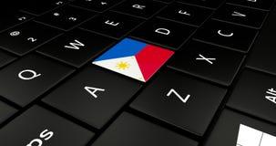 Botão da bandeira de Filipinas no teclado do portátil ilustração do vetor