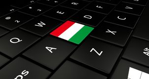 Botão da bandeira de Hungria no teclado do portátil ilustração stock