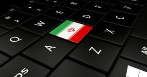 Botão da bandeira de Irã no teclado do portátil ilustração royalty free