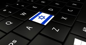 Botão da bandeira de Israel no teclado do portátil ilustração royalty free