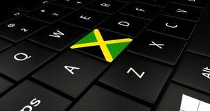 Botão da bandeira de Jamaica no teclado do portátil ilustração royalty free