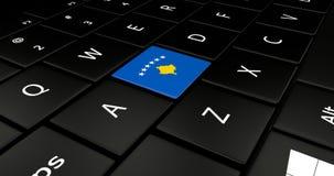 Botão da bandeira de Kosovo no teclado do portátil ilustração royalty free
