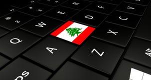 Botão da bandeira de Líbano no teclado do portátil ilustração royalty free