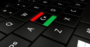 Botão da bandeira de Líbia no teclado do portátil ilustração do vetor