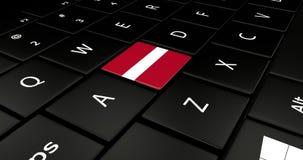 Botão da bandeira de Letónia no teclado do portátil ilustração royalty free