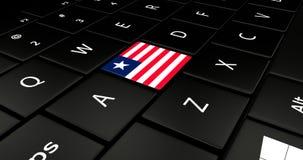 Botão da bandeira de Libéria no teclado do portátil ilustração royalty free