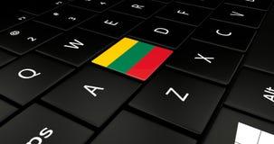 Botão da bandeira de Lituânia no teclado do portátil ilustração stock