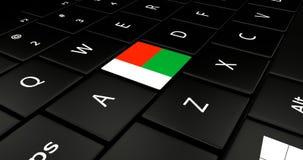 Botão da bandeira de Madagáscar no teclado do portátil ilustração royalty free