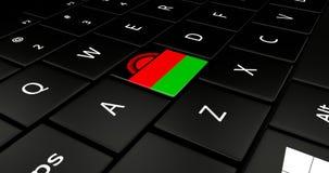 Botão da bandeira de Malawi no teclado do portátil ilustração do vetor