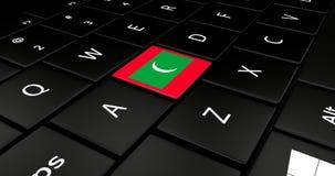 Botão da bandeira de Maldivas no teclado do portátil ilustração do vetor
