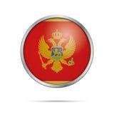 Botão da bandeira de Montenegrian do vetor Bandeira de Montenegro no botão de vidro Fotografia de Stock Royalty Free