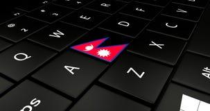 Botão da bandeira de Nepal no teclado do portátil ilustração do vetor