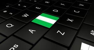 Botão da bandeira de Nigéria no teclado do portátil ilustração stock