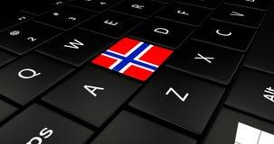 Botão da bandeira de Noruega no teclado do portátil ilustração royalty free