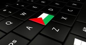 Botão da bandeira de Palestina no teclado do portátil ilustração royalty free